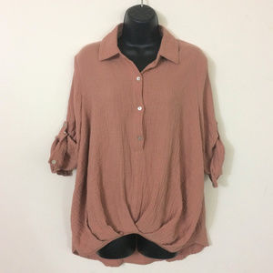 💖 50% OFF Just Living Cotton Waffle Blouse Shirt